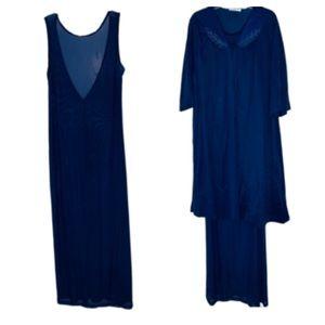 Vintage Vasarette Navy Sheer Negligee + Robe M/L